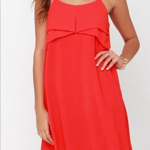 Tropic red orange shift dress